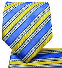 Blue and Yellow Striped Tie and Pocket Square Set