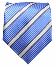 Blue, Black and White Paul Malone Neck Tie, 100% Silk (241)