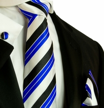 Blue, Black and White Striped Necktie Set by Paul Malone (593CH)
