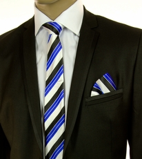 Blue, Black and White Striped SLIM Tie Set by Paul Malone (Slim593H)