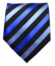 Blue & Black Striped Paul Malone Silk Tie (881)