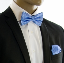 Blue Bow Tie and Pocket Square by Paul Malone (BT502H)