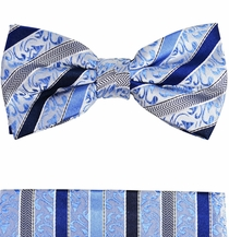 Blue Bow Tie and Pocket Square Set by Paul Malone . 100% Silk (BT718H)