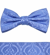 Blue Bow Tie and Pocket Square Set by Paul Malone . 100% Silk (BT818H)