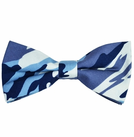 Blue Camouflage Cotton Bow Tie by Paul Malone