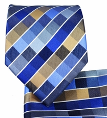 Blue Checkered Necktie and Pocket Square