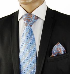 Blue Contrast Knot Silk Tie Set by Steven Land
