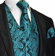 Blue Coral Paisley Tuxedo Vest and Accessories