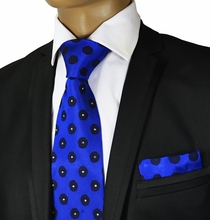 Blue Crystal Silk Tie a. Pocket Square by Steven Land