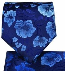 Blue Floral Necktie and Pocket Square Set