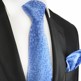 Blue Floral Silk Tie and Pocket Square by Paul Malone