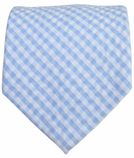 Blue Gingham Cotton Necktie by Paul Malone Red Line