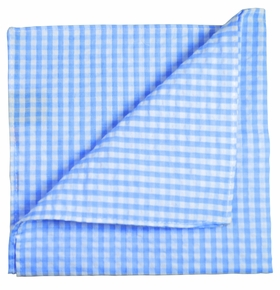 Blue Gingham Cotton Pocket Square by Paul Malone