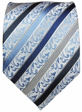 Blue & Gray Paul Malone Silk Necktie (718)