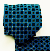 Blue, Green and Black Necktie and Pocket Square Set (Q580-G)
