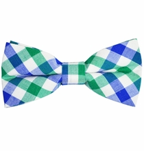 Blue, Green and White Cotton Bow Tie by Paul Malone