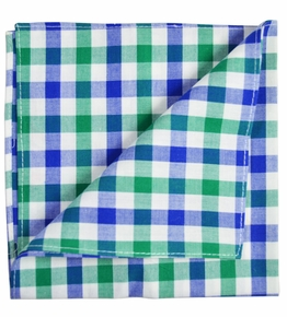 Blue, Green and White Cotton Pocket Square by Paul Malone