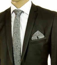 Blue-Grey SLIM Silk Tie Set by Paul Malone (Slim580H)