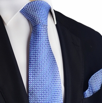 Blue Micro-Checked Silk Tie Set by Paul Malone