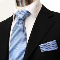 Blue Necktie and Handkerchief Set (Q62)