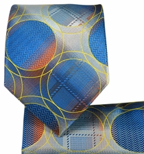 Blue Necktie and Pocket Square Set