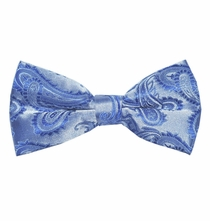 Blue Paisley Bow Tie . Pretied or Self-tie (BT20-C)