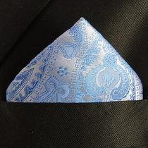 Blue Paisley Mens Silk Pocket Square (H428)