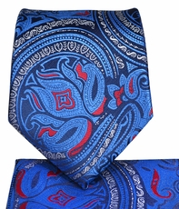 Blue Paisley Necktie and Pocket Square Set