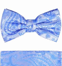 Blue Paisley Paul Malone Bow Tie and Pocket Square Set . 100% Silk (BT428H)