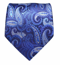 Blue Paisley Silk Necktie by Paul Malone (914)