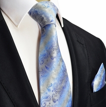 Blue Paisley Silk Necktie by Paul Malone Red Line