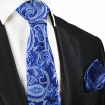 Blue Paisley Silk Tie and Pocket Square by Paul Malone Red Line
