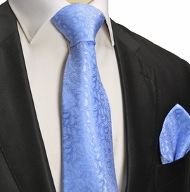 Blue Paisley Silk Tie and Pocket Square . Paul Malone