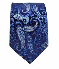 Blue Paisley Slim Silk Tie by Paul Malone