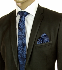 Blue Paisley SLIM Silk Tie Set by Paul Malone (Slim594H)