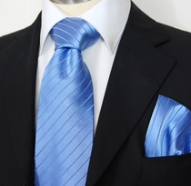 Blue Paul Malone Silk Necktie & Pocket Square (928H)