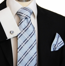 Blue Paul Malone Silk Necktie with matching Pocket Square and Cufflinks (957CH)