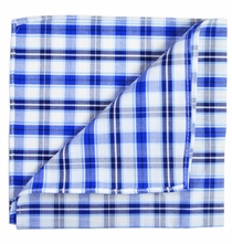 Blue Plaid Cotton Pocket Square by Paul Malone Red Line