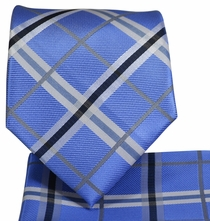 Blue Plaid Necktie and Pocket Square