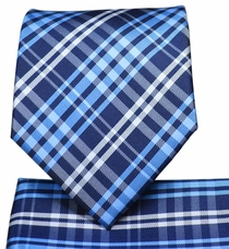 Blue Plaid Necktie and Pocket Square Set