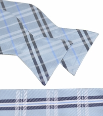 Blue Plaid Paul Malone Bow Tie and Pocket Square Set . 100% Silk (BT957H)