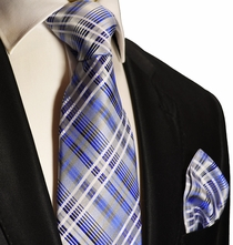 Blue Plaid Silk Tie and Pocket Square , Paul Malone Red Line