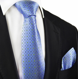 Blue Polka Dots Silk Tie and Pocket Square by Paul Malone