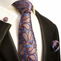 Blue, Red and Gold Paisley Silk Necktie Set by Paul Malone (579CH)