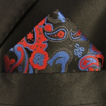 Blue, Red and Tan Pocket Square . 100% Silk (H885)
