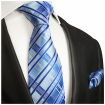 Blue Silk Necktie and Pocket Square , Paul Malone Red Line