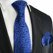 Blue Silk Tie and Pocket Square by Paul Malone Red Line
