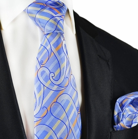 Blue Silk Tie and Pocket Square Set by Paul Malone