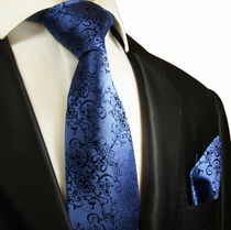Blue Silk Tie and Pocket Square Set by Paul Malone Red Line