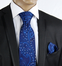Blue Silk Tie Set with Crystals (C71-4)
